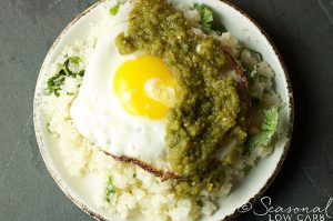 SLC Egg with Salsa Verde and Cauliflower Rice